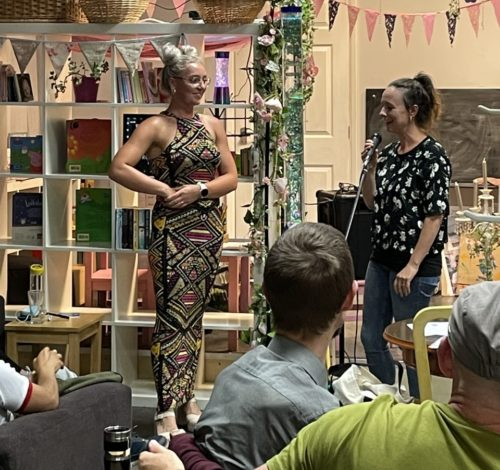 Lizzie (right) hosts a Touch event at the Bridge Road Tea Rooms